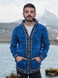 Blue and Brown Hooded Melange Sweater