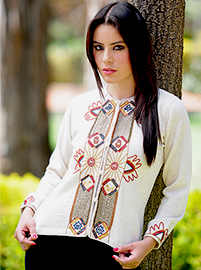 Beige Embroidered Cardigan