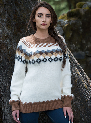 Island Sweater - Brown and White