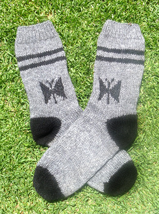 Thick Melange Alpaca Socks - Gray