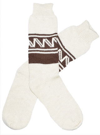 Alpaca Socks - White with Brown Decorations