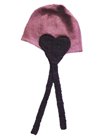 Heart Hat (4 years) - Pink and Dark Gray