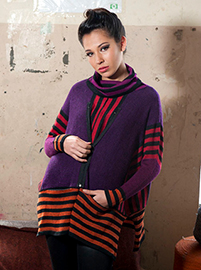 Striped Poncho-Sweater