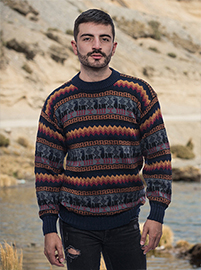 Black Stripe Alpaca Sweater - Fire