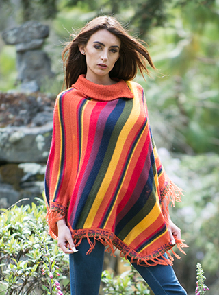 Stripped Poncho  - Multicolor