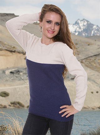 Abigail Alpaca Sweater - Blue and Beige