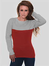 Abbey Alpaca Sweater - Red and Gray
