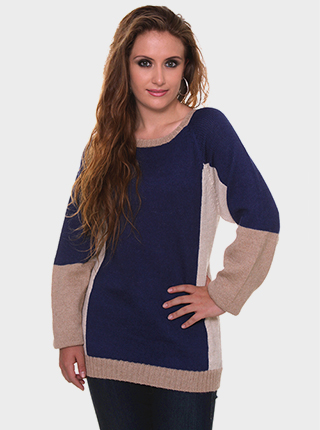Eir Alpaca Sweater - Blue and Beige