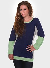 Cecily Alpaca Sweater - Blue and Light green