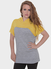 Sun Alpaca Blouse -  Grey and Mustard whit Hood