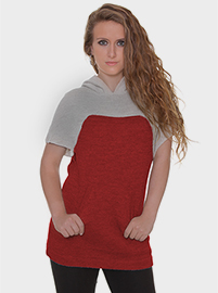 Freya Alpaca Blouse - Red and Grey with Hood