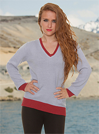 Skadi Alpca Sweater - Grey and Burgundy