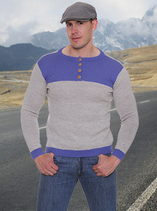 Thor Alpaca Sweater - Grey and Blue