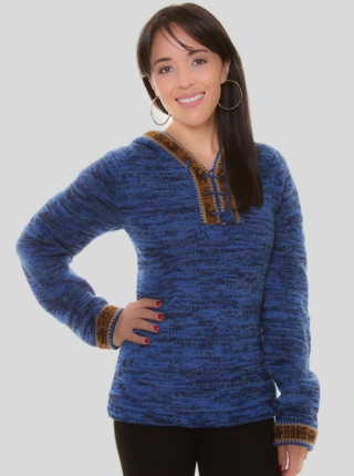 Blue Alpaca Hooded Melange Sweater