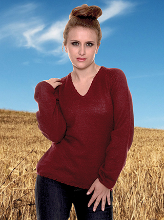 Burgundy Alpaca Sweater - V neck