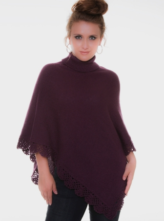 Purple Alpaca Poncho - High Neck