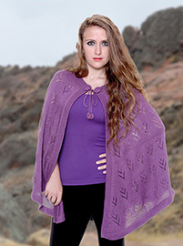 Purple Alpaca Cape - With Holes