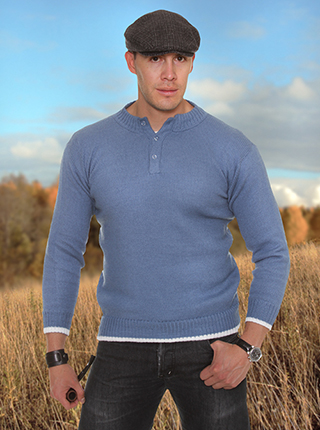 Sky Blue Alpaca Sweater  with Buttons
