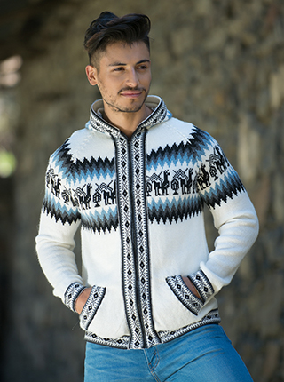 White Alpaca Sweater with Zipper and Hood - Andean