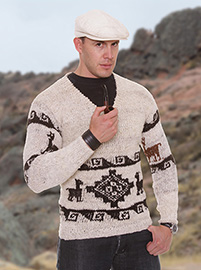 Andean white Alpaca Sweater - V neck