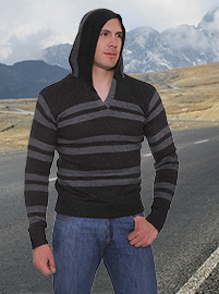 Stripped Alpaca Sweater with Hood