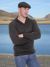 Charcoal Alpaca Sweater - Shirt V neck