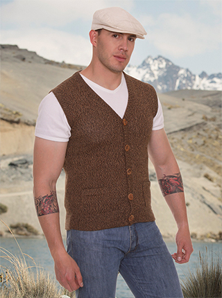 Alpaca vest  with Buttons- Brown