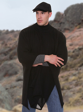 Black Alpaca Poncho Sweater - High Neck