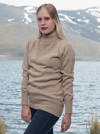 Beige Alpaca Sweater - High Neck
