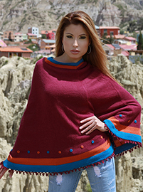 Short Burgundy Poncho