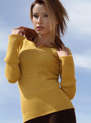 Mustard Sweater with Shirt Neck