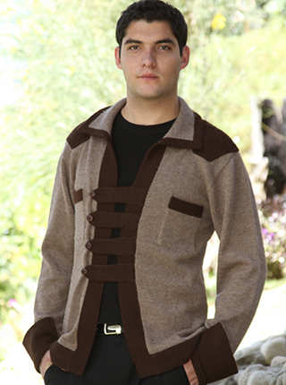 Brown & Beige Cardigan - Military Style Buttons