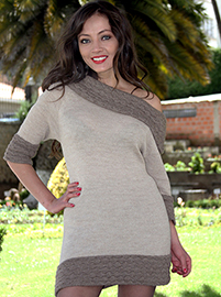 Beige Dress with Asymmetric Neck