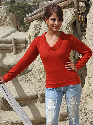Orange Alpaca Sweater with V Neck