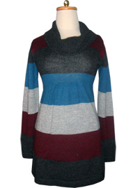 Striped Dress - Turtleneck