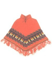 Orange Baby Alpaca Poncho for Kids