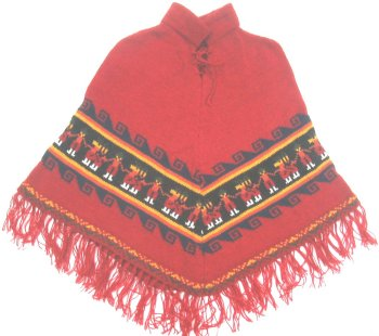Red Baby Alpaca Poncho for Kids (10 years)