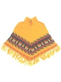 Mustard Baby Alpaca Poncho for Kids