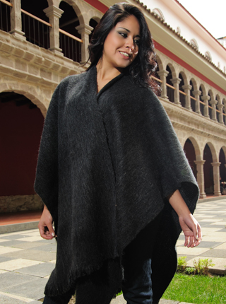 Alpaca Ruana - Dark Gray