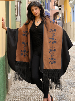 Deluxe Black Alpaca Cape with Stole