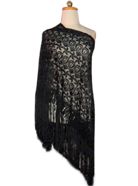 Silk Shawl with Macrame Designs - Black