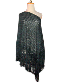 Silk Shawl with Macrame Designs - Green