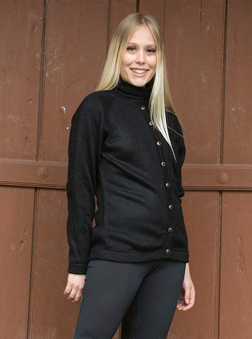 Black sweater with brown buttons