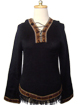 Black Hooded Sweater with Fringes